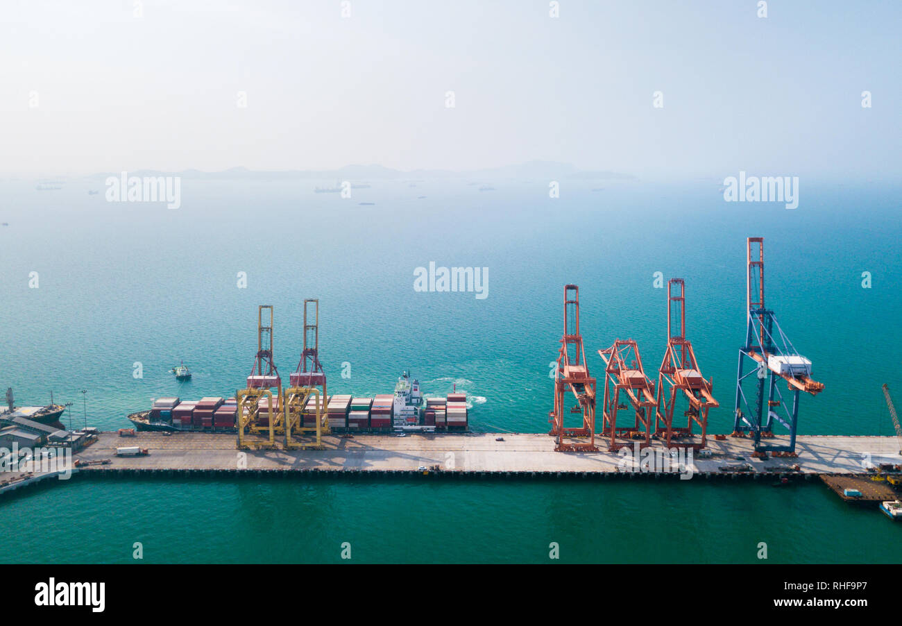 Aerial view of container ship in import - export business