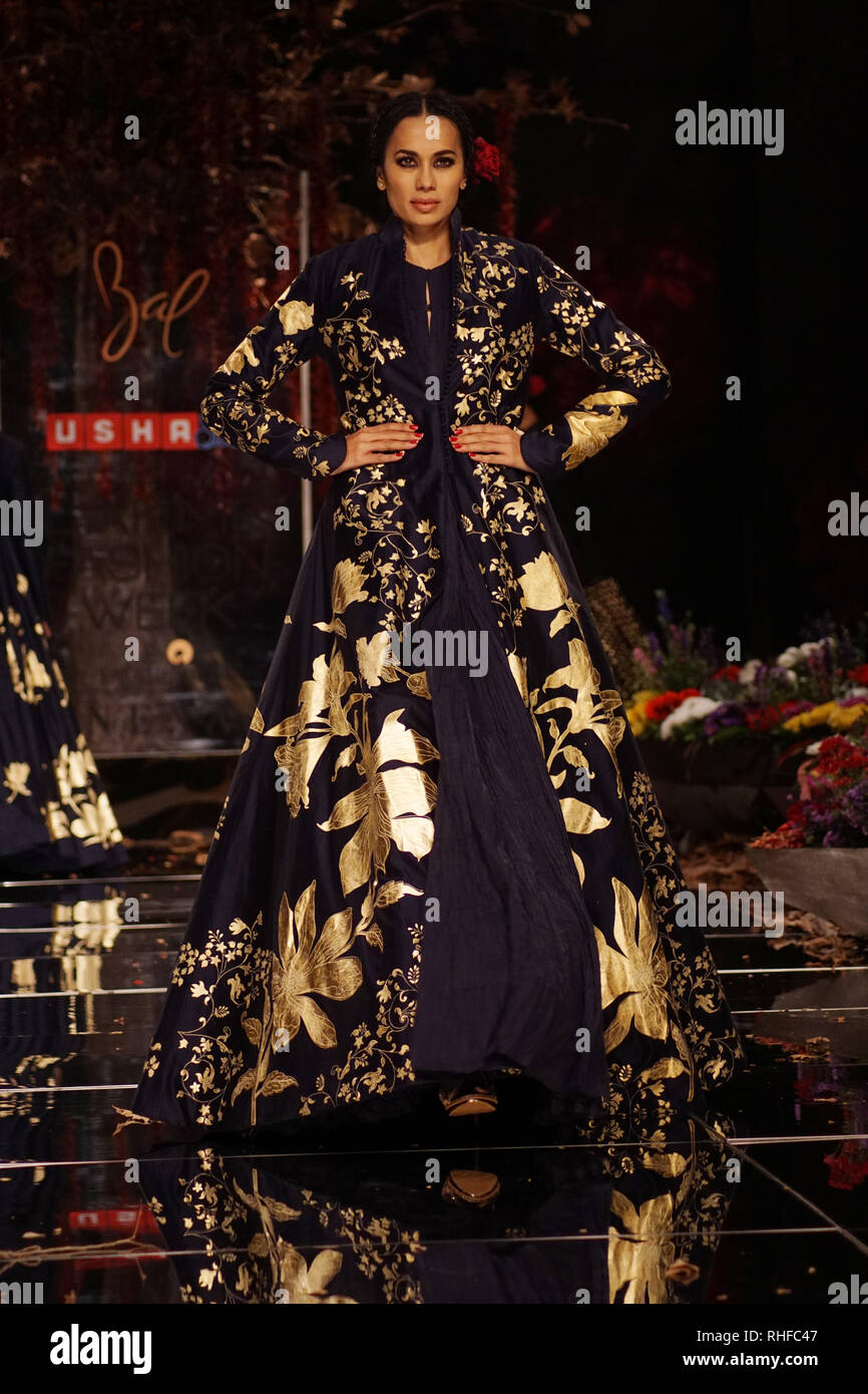 Mumbai India 30th 2019 Model Walk The Ramp For Designer Rohit Bal Creation At Lakme Fashion Week Summer Resort Collection 2019 Day 1 At Jio Garden Stock Photo Alamy