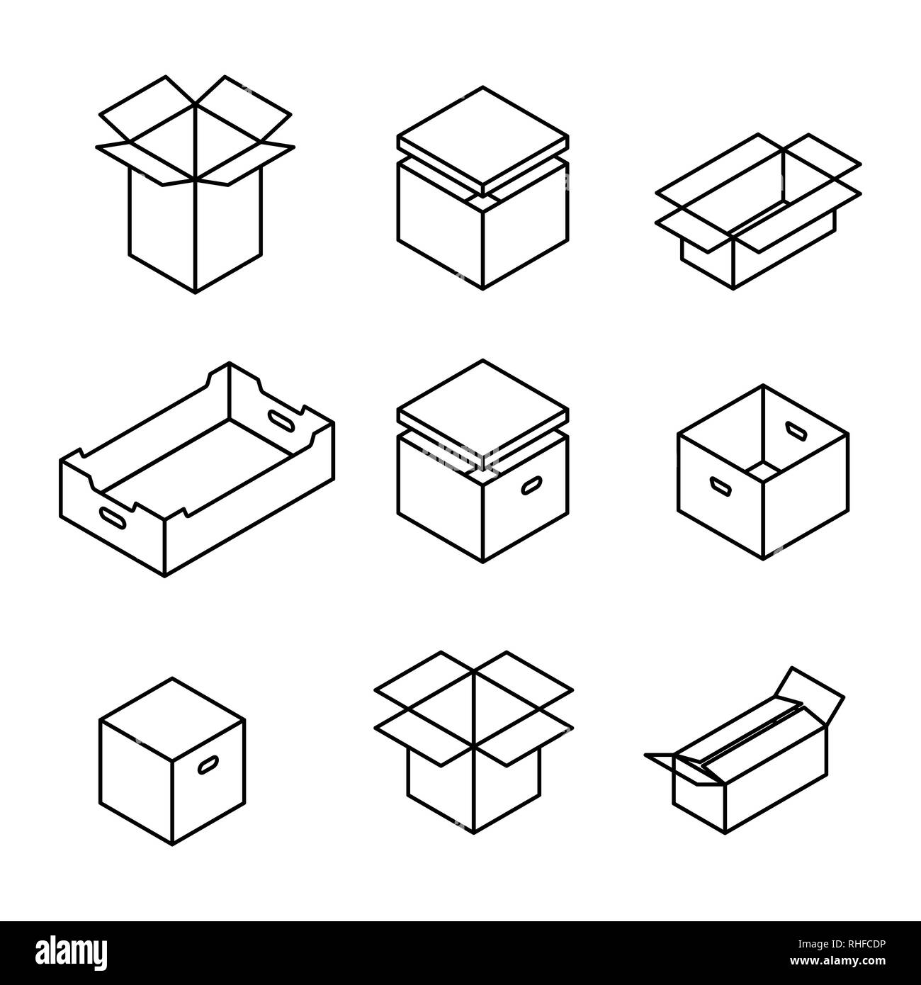 Set of different cardboard boxes from thin lines isolated on white background. Packaging design elements. Flat 3D isometric style, vector illustration - Stock Vector