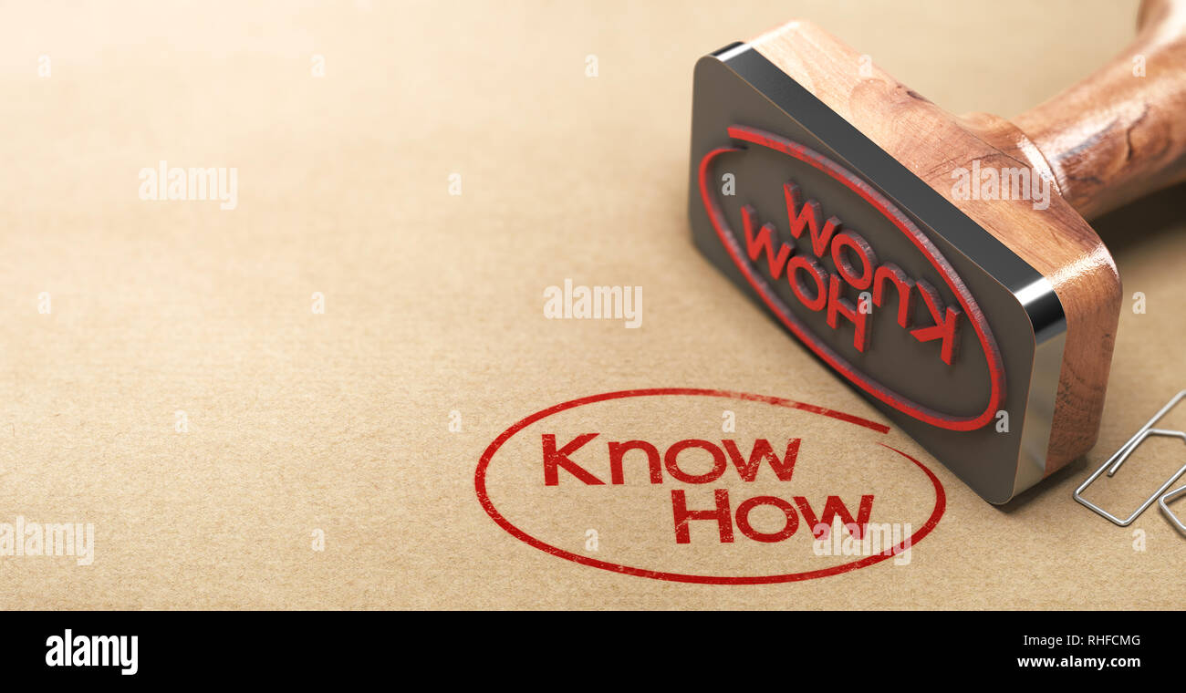 3D illustration of a rubber stamp with the text know-how printed on paper background, Skill concept. - Stock Image