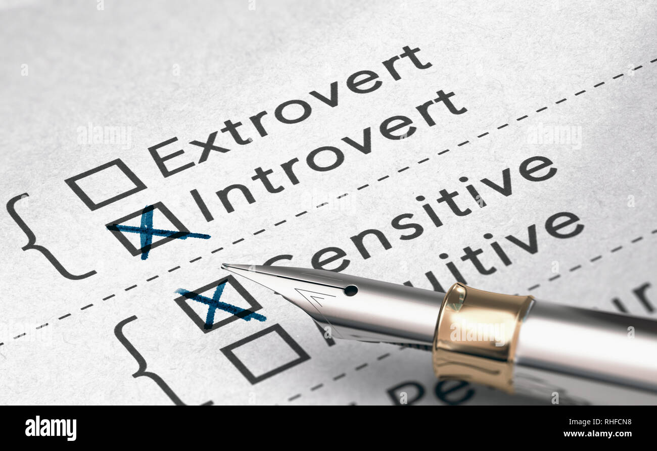 3D illustration of personality test with two words extrovert and introvert and a fountain pen. - Stock Image