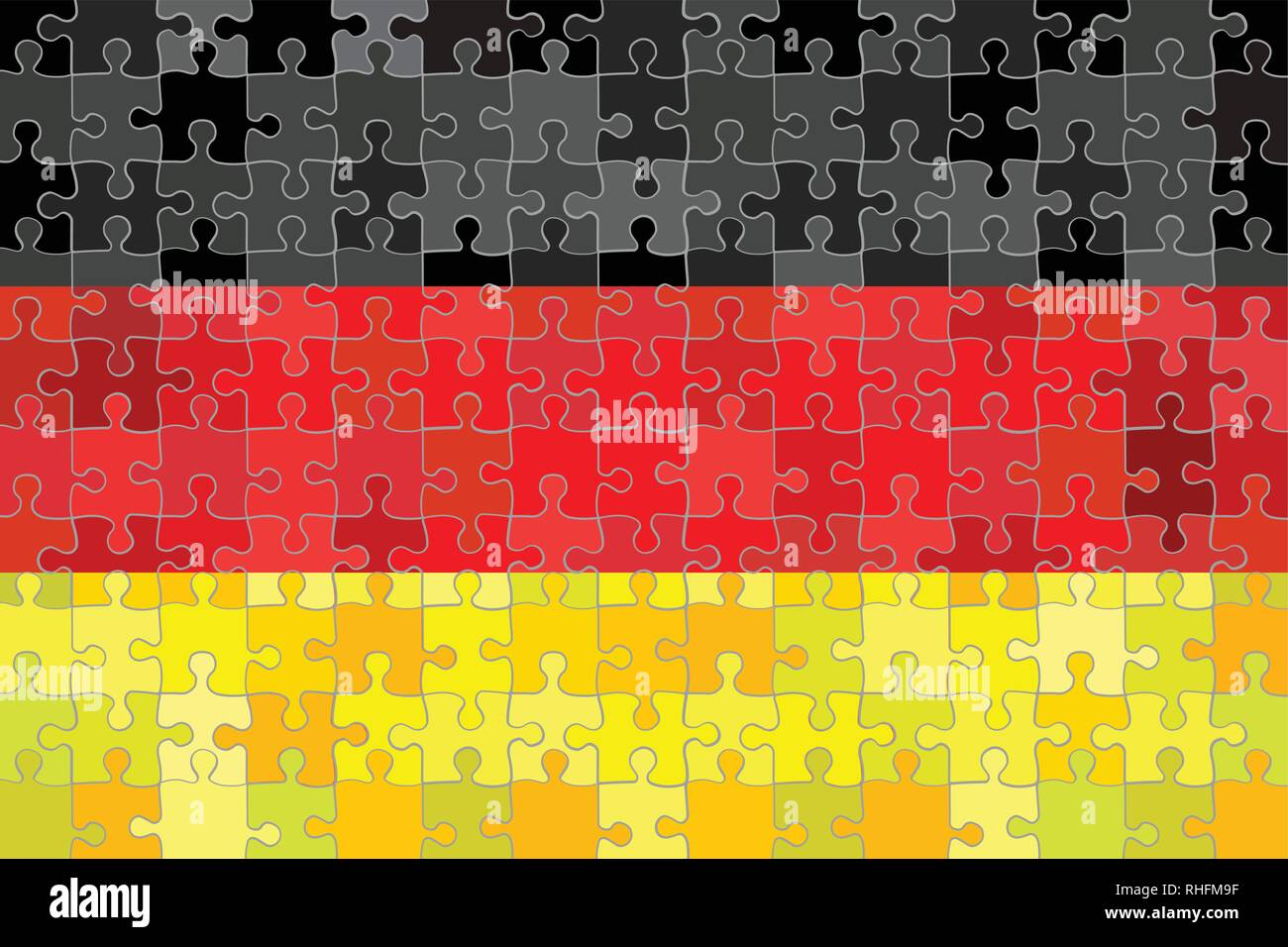 Germany flag made of puzzle background - Illustration - Stock Vector