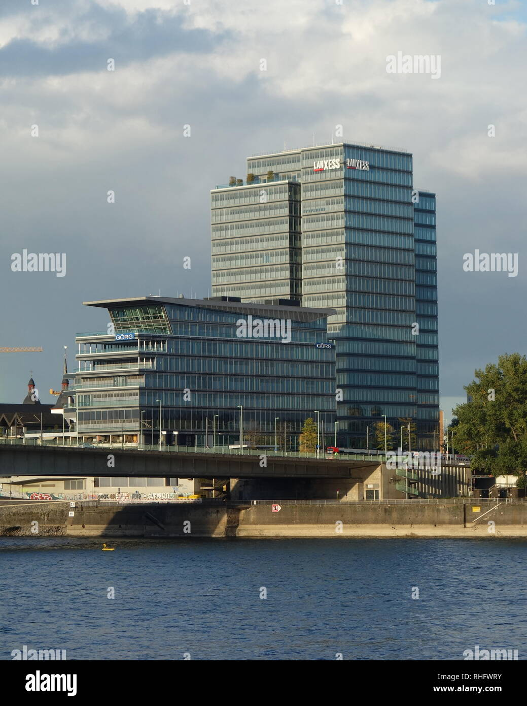 The corporate headquarters of the German chemicals company Lanxess, on the banks of the River Rhine in Cologne. - Stock Image