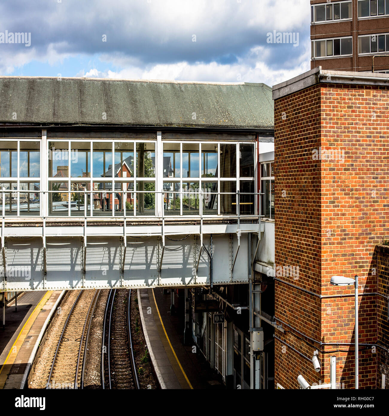 Covered Pedestrian Walkway Railway Bridge Crossing Over Rail Tracks Stock Photo