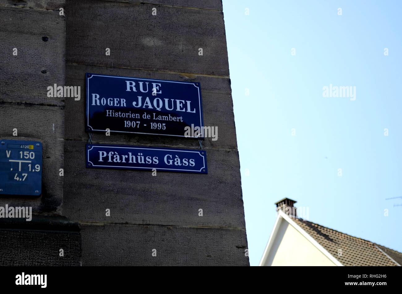 Rue Roger Jaquel street sign at Place Lambert in Mulhouse, France; Jaquel was the biographer of mathematician Johan Heinrich Lambert. - Stock Image