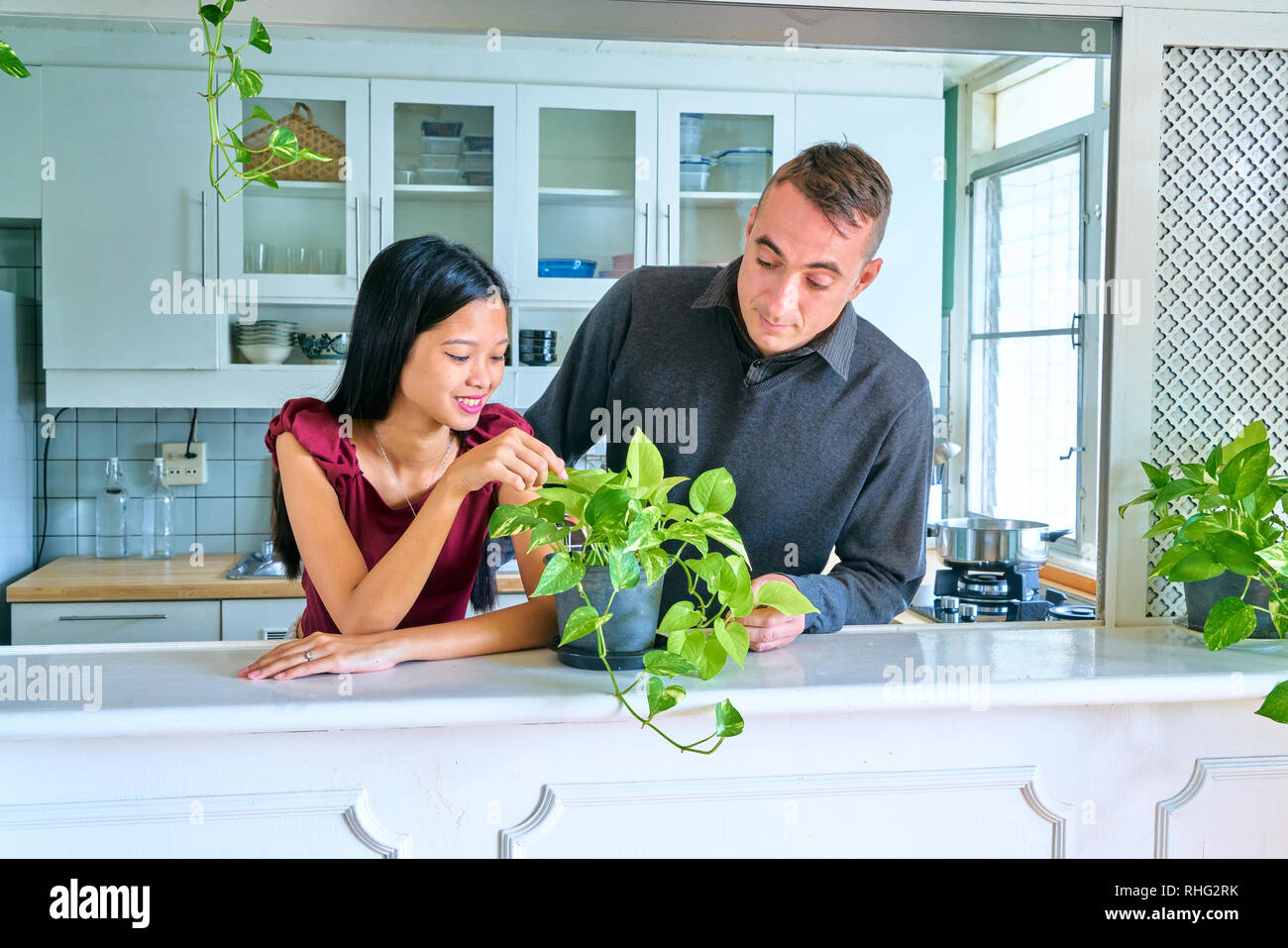 Lovely couple posing - caring the plants - Stock Image