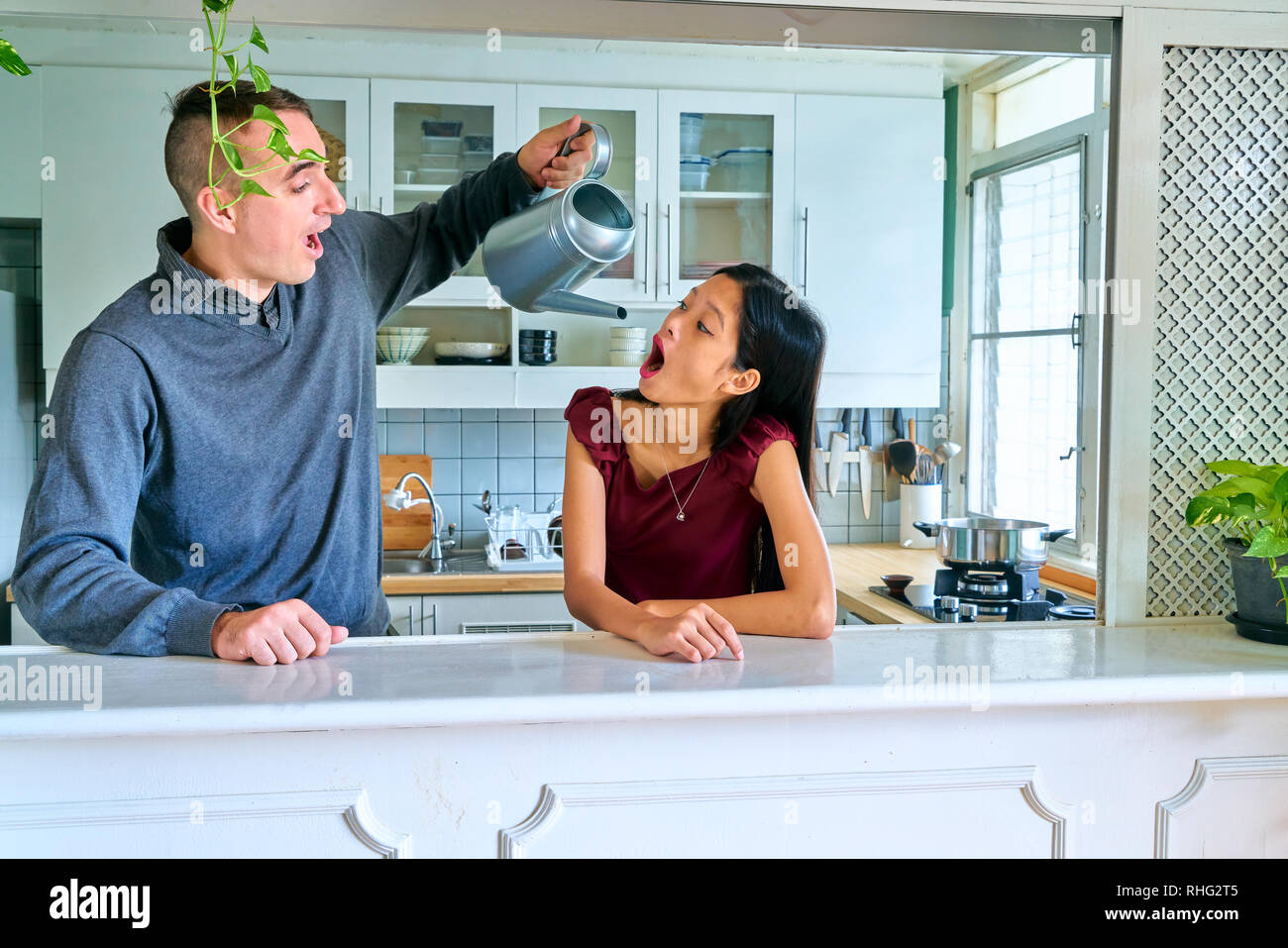 You want to drink, then open your mouth. - Stock Image