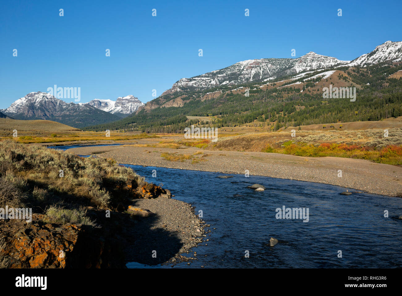 WY03093-00...WYOMING - Soda Butte Creek in the Lamar Valley area of Yellowstone National Park. - Stock Image