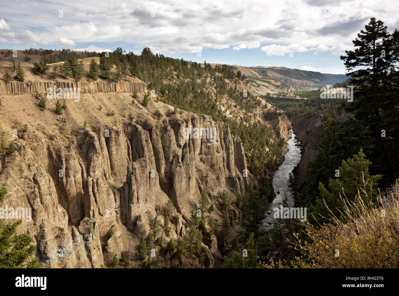 Basaltic columns and spires form the walls of the Canyon of the Yellowstone River viewed from the Calcite Springs Overlook in Yellowstone Natl. Park. - Stock Image