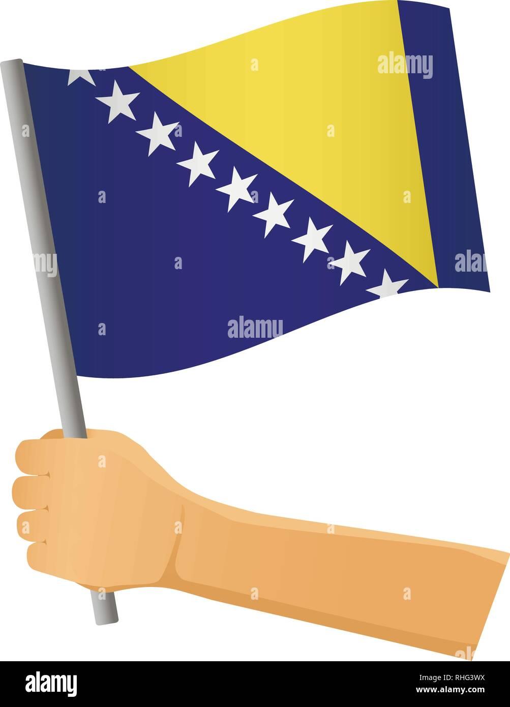 Bosnia and Herzegovina flag in hand. Patriotic background. National flag of Bosnia and Herzegovina vector illustration - Stock Vector