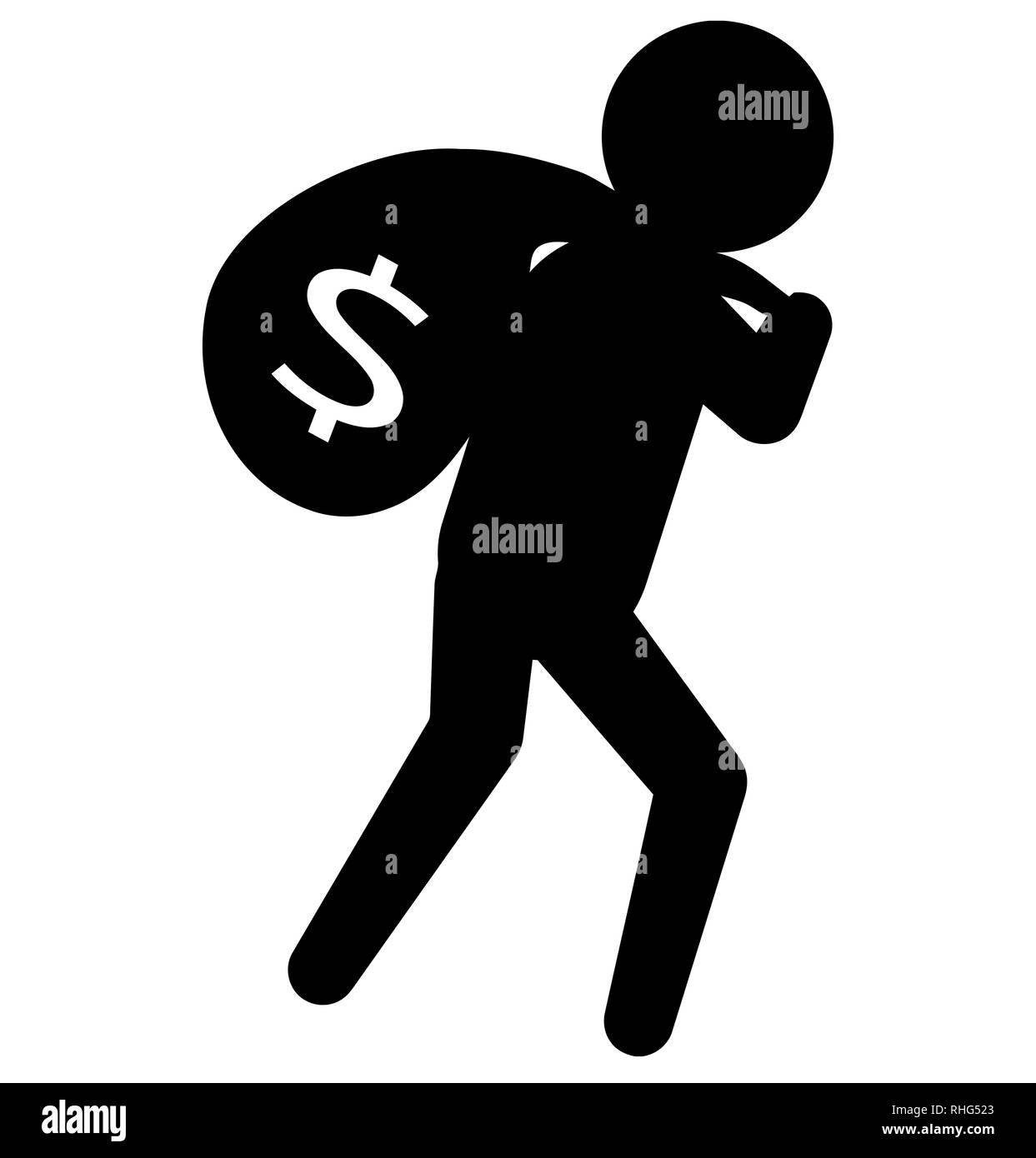 theft carrying bag crime black silhouette illustration - Stock Image