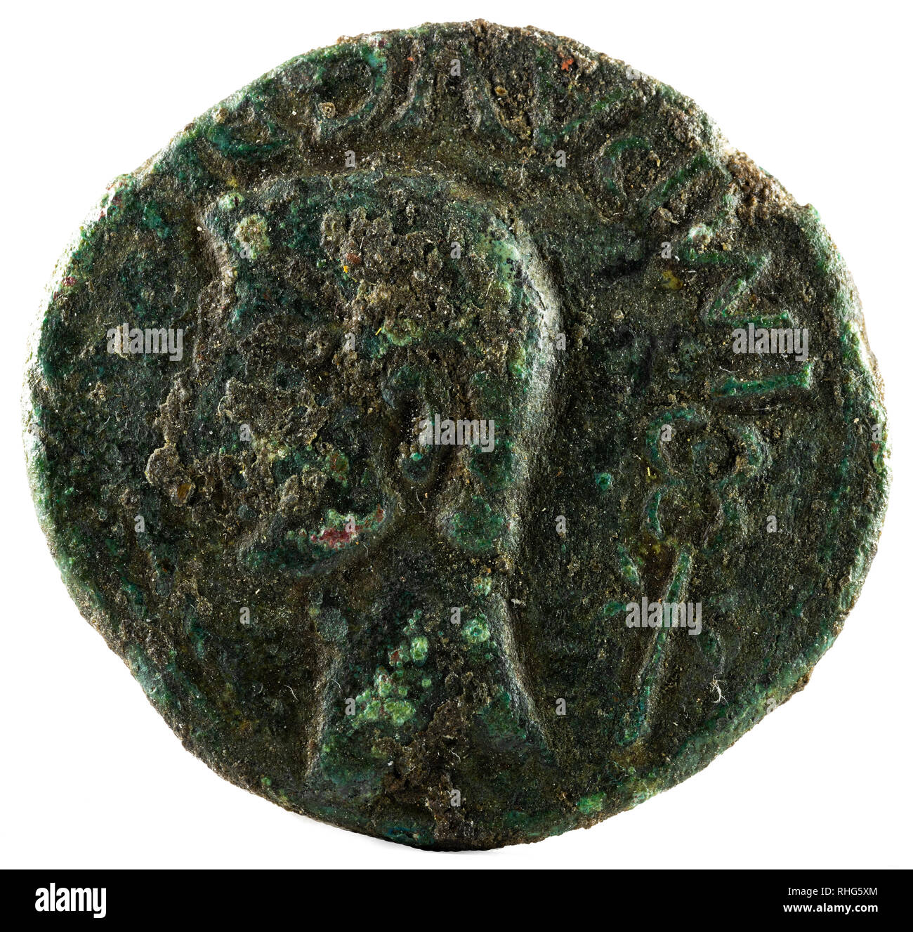Ancient Roman bronze coin of Emperor Augustus. As. Coined for payment to the veteran legionnaires of Cantabrian Wars. Obverse. - Stock Image