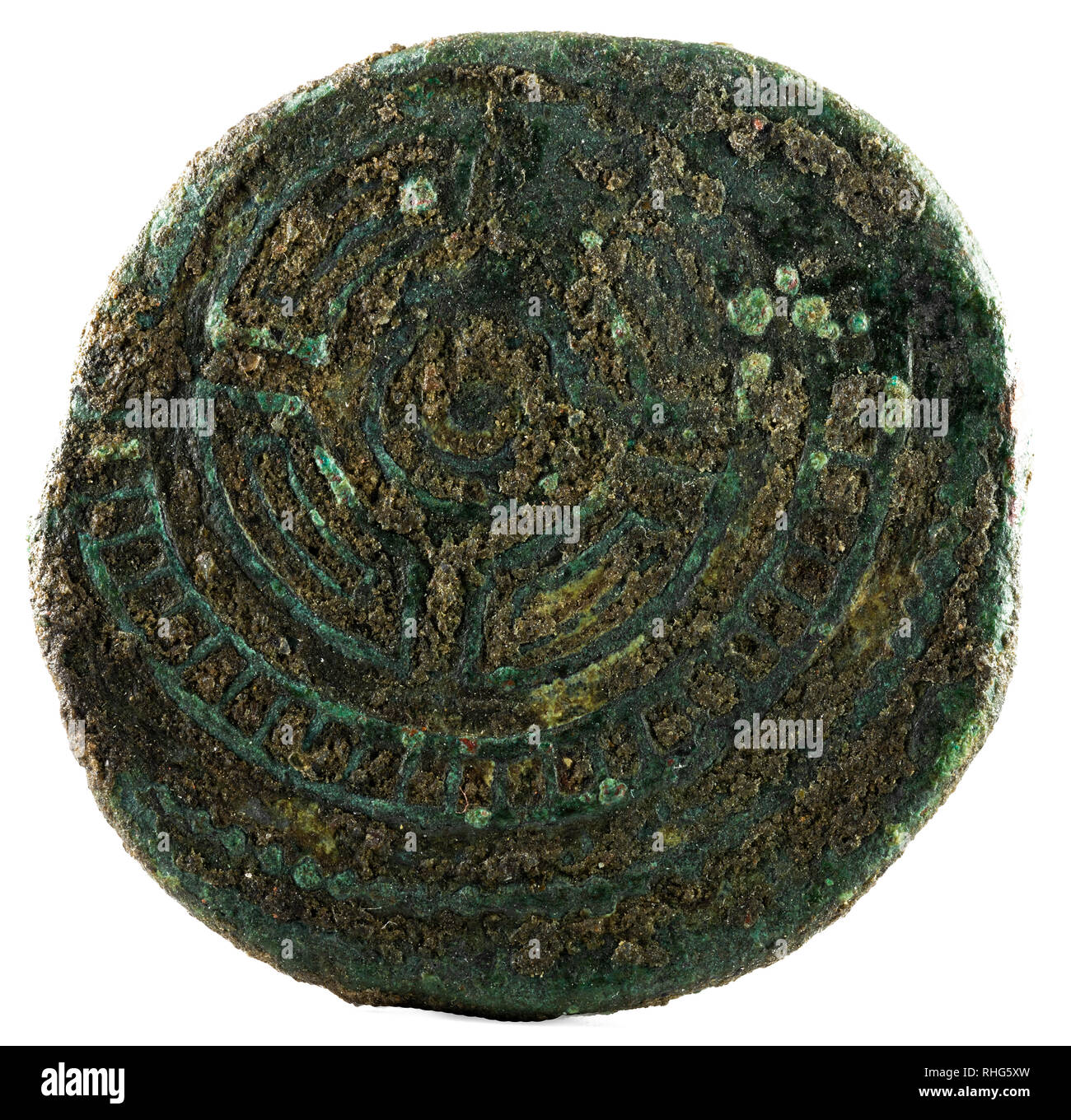 Ancient Roman bronze coin of Emperor Augustus. As. Coined for payment to the veteran legionnaires of Cantabrian Wars. Reverse. - Stock Image