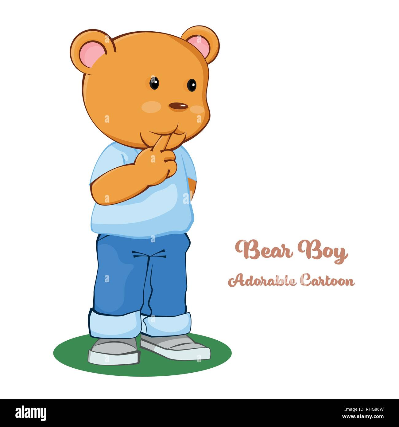 Adorable Cartoon, Boy Bear Standing with thinking. cartoon character design. Vector clip art illustration. Stock Vector
