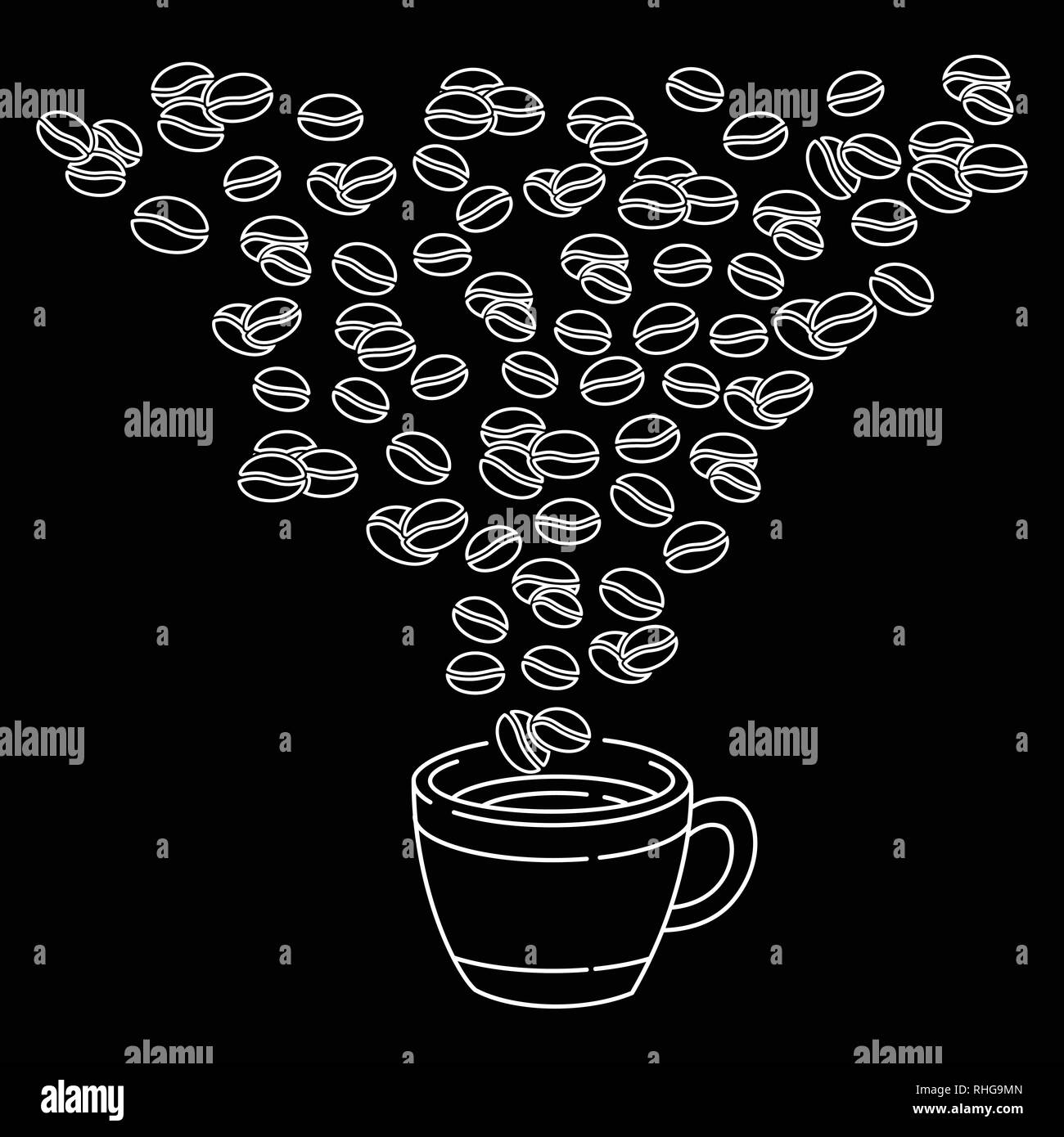 Hand drawn coffee beans and Coffee cup doodle style, isolated on black background. Ink drawing, coffee seeds. Packaging design, wallpaper, banner etc. - Stock Image