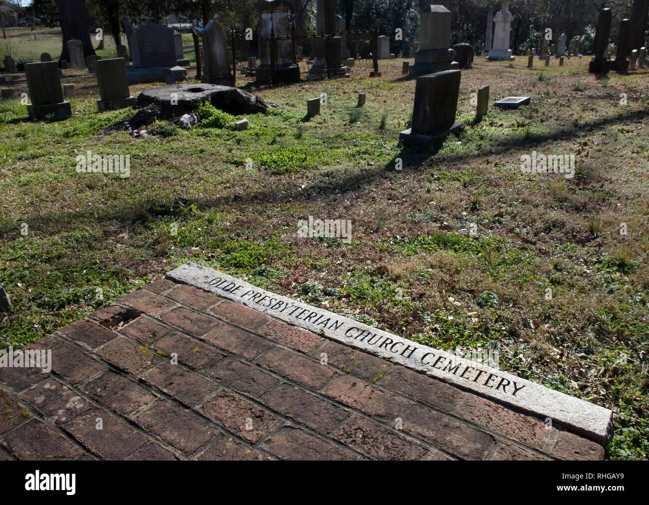 Inscription in stone at Olde Presbyterian Church Cemetery, Lancaster South Carolina USA. - Stock Image
