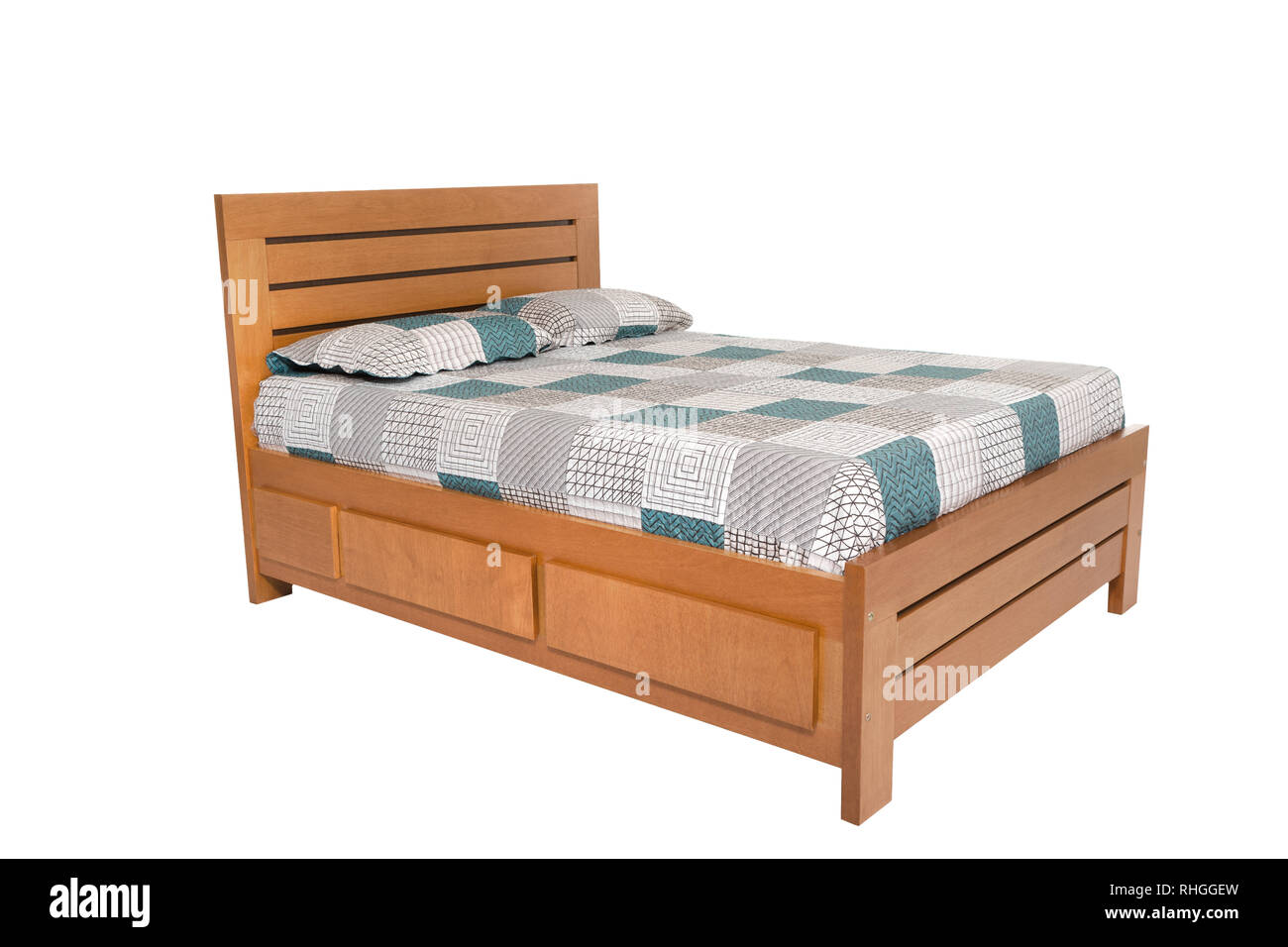 Picture of: Wooden Double Bed Isolated On White Background Stock Photo Alamy