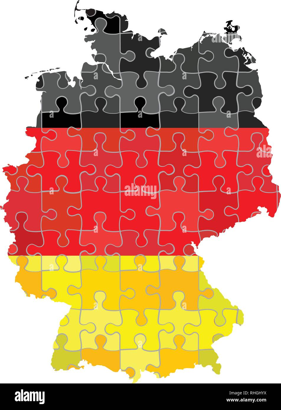 Germany map made of puzzle background - Illustration - Stock Vector