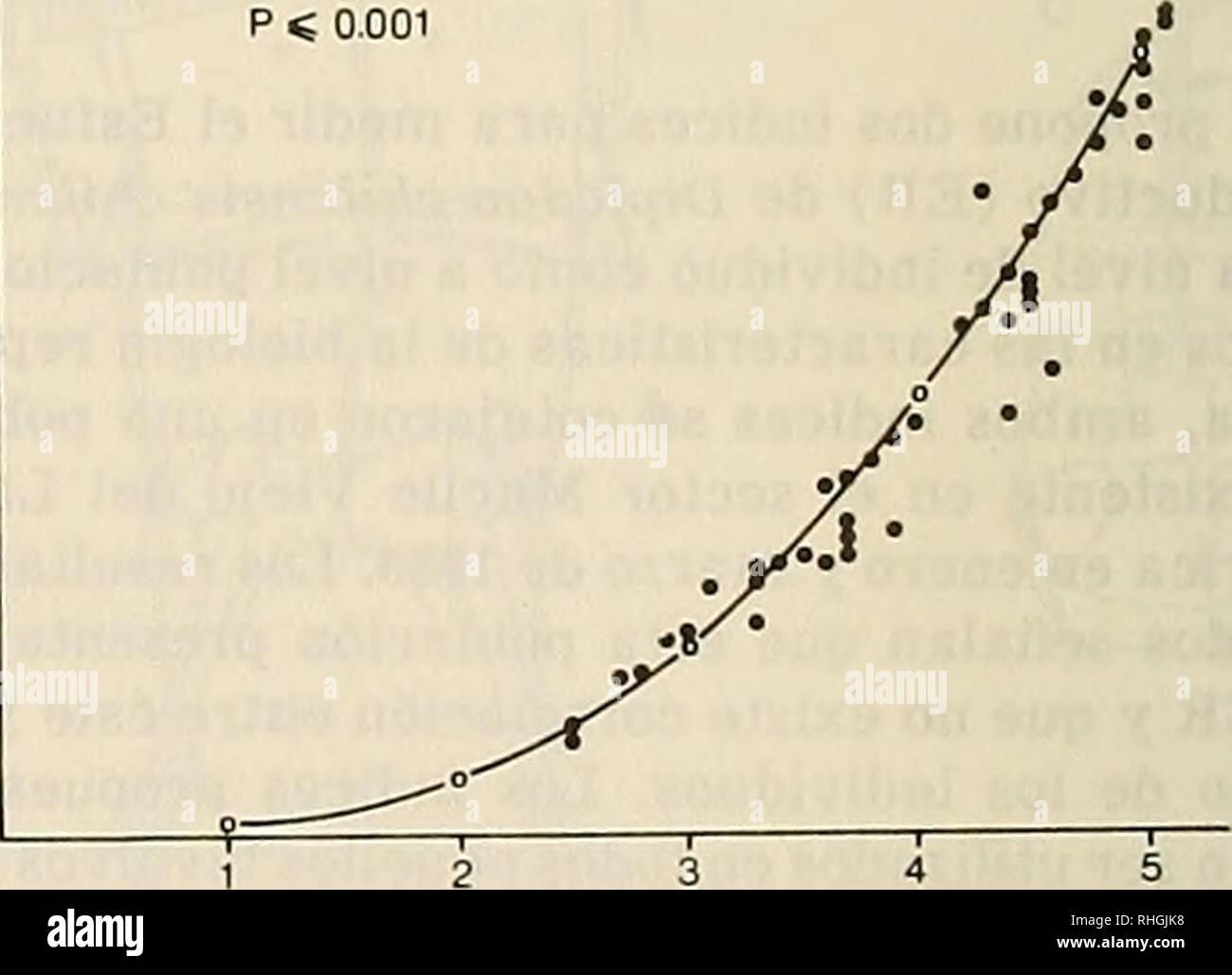 . Boletin de la Sociedad de Biología de Concepción. Sociedad de Biología de Concepción; Biology; Biology. Bol. Soc. Biol. Concepción, Chile. Tomo 58, 1987 lidad y sobrevivencia, duración del ciclo de vida, entre otros. Uno de los parámetros del ciclo vital difícil de cuantificar es el esfuerzo repro- ductivo (ER). Este parámetro represen- ta la cantidad de energía que un individuo o población destina al proceso reproducti- vo. Desde que Fisher (1930) propuso el término esfuerzo reproductivo, muchos han sido los intentos por cuantificar este parámetro en las poblaciones. Aún cuan- do no existe  - Stock Image