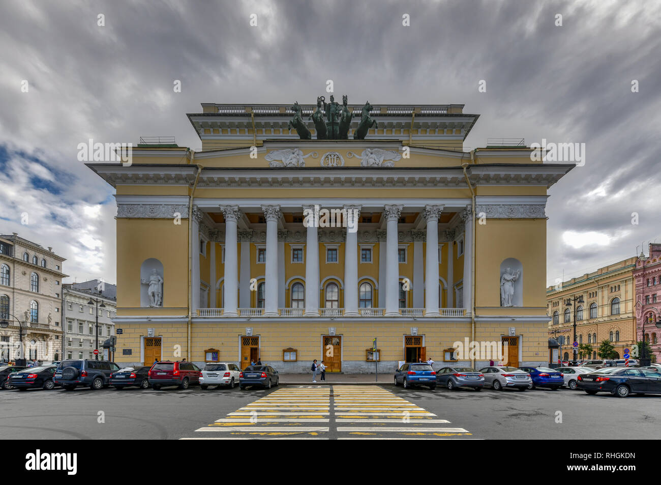 Saint Petersburg, Russia - July 3, 2018: Alexandrinsky Theater in St. Petersburg, one of the oldest drama theaters in Russia. - Stock Image