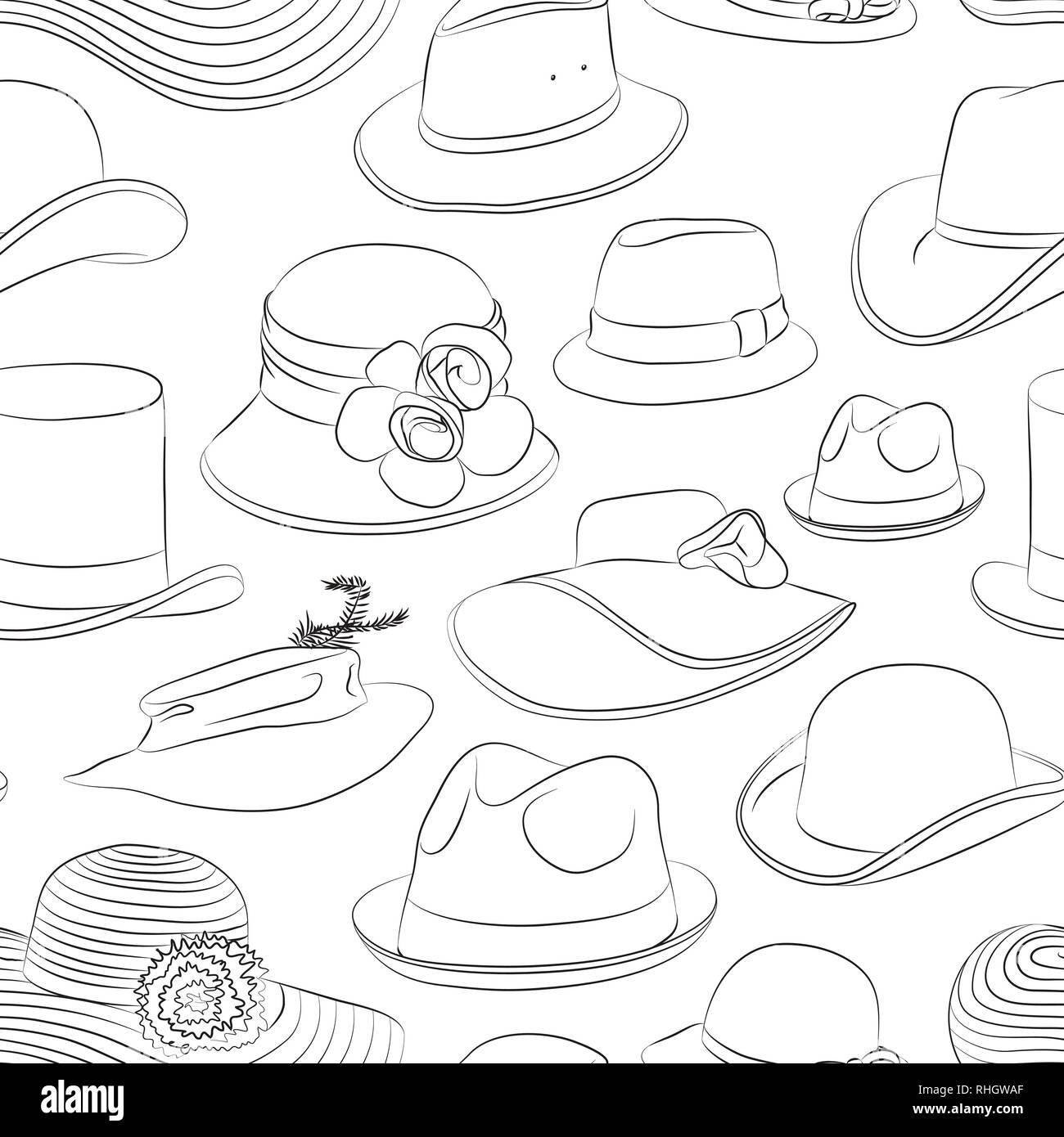 Vector set of man and woman hats pattern. Vector illustration, EPS 10 - Stock Image