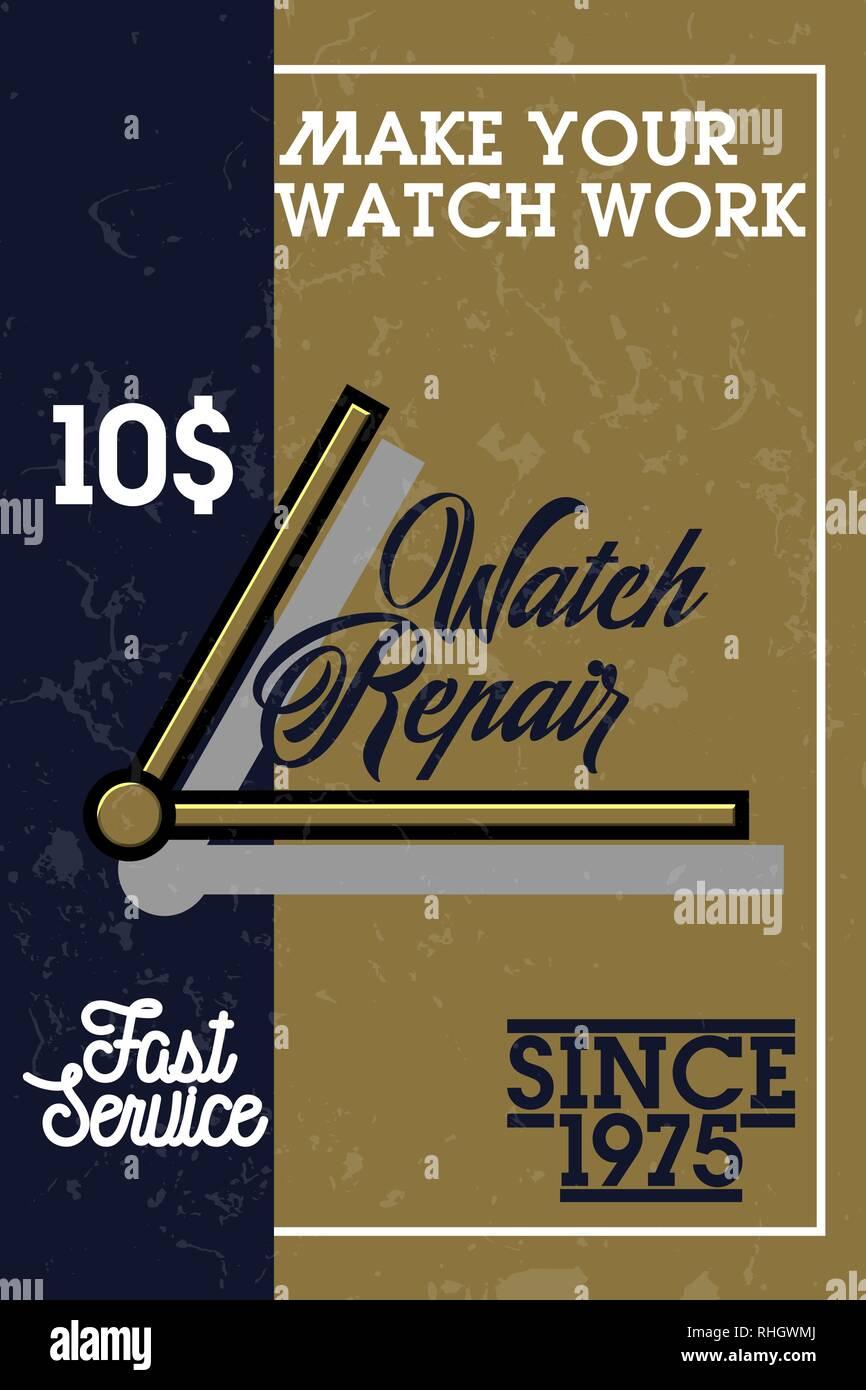 Color vintage watch repair banner. Vector illustration, EPS 10 - Stock Vector