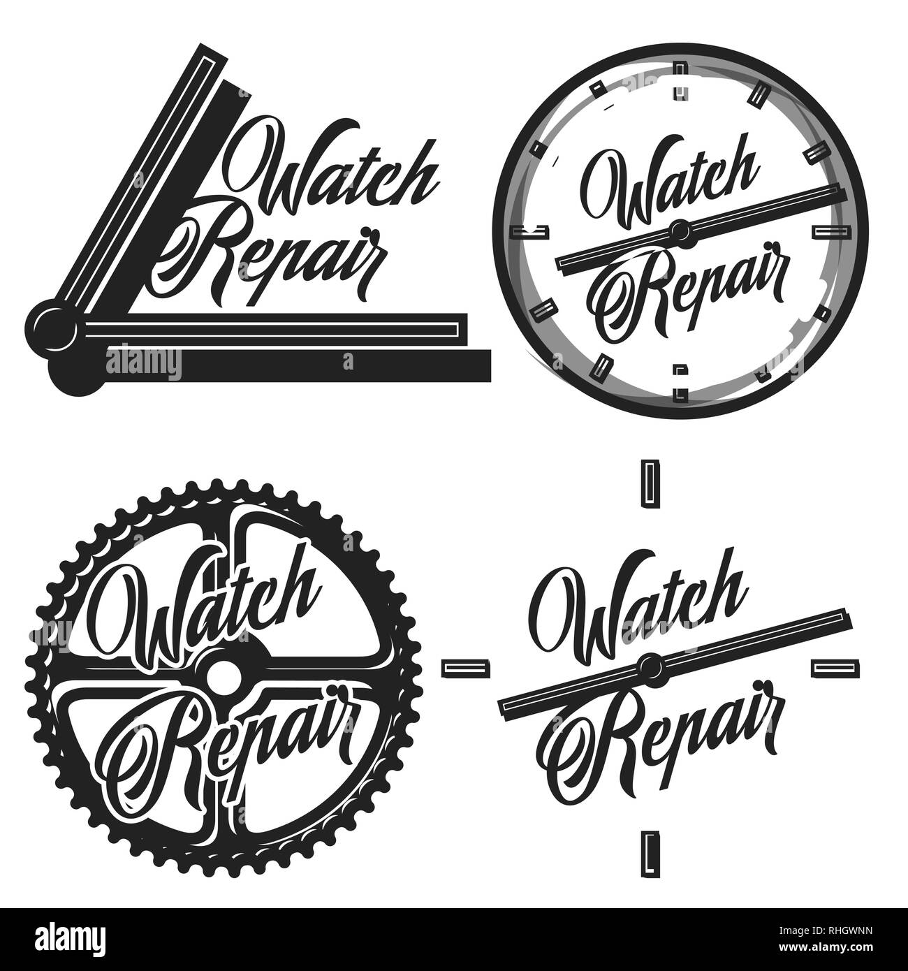 Color vintage watch repair emblems, labels, badges and design elements. Vector illustration, EPS 10 - Stock Image