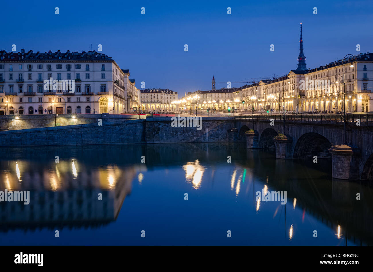 Turin view on Piazza Vittorio and Mole Antonelliana at twilight Stock Photo