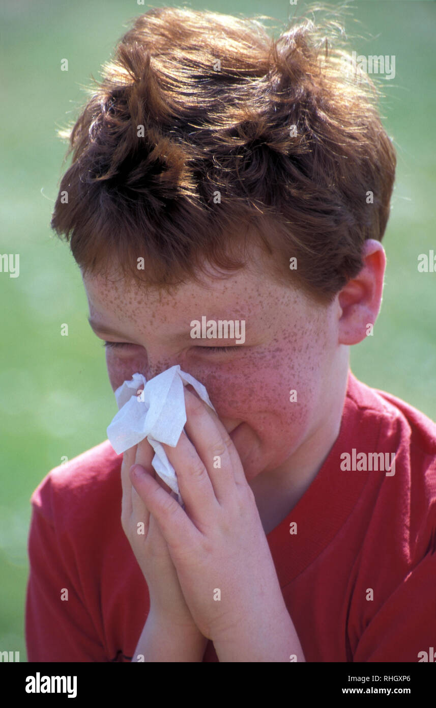 young boy blowing nose with tissue - Stock Image