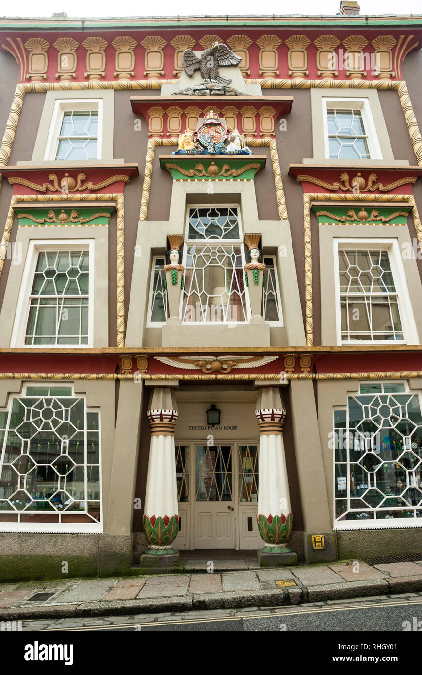 Front elevation of the amazing colourful facade and architecture of the Egyptian House, Chapel Street, Penzance, Cornwall. - Stock Image