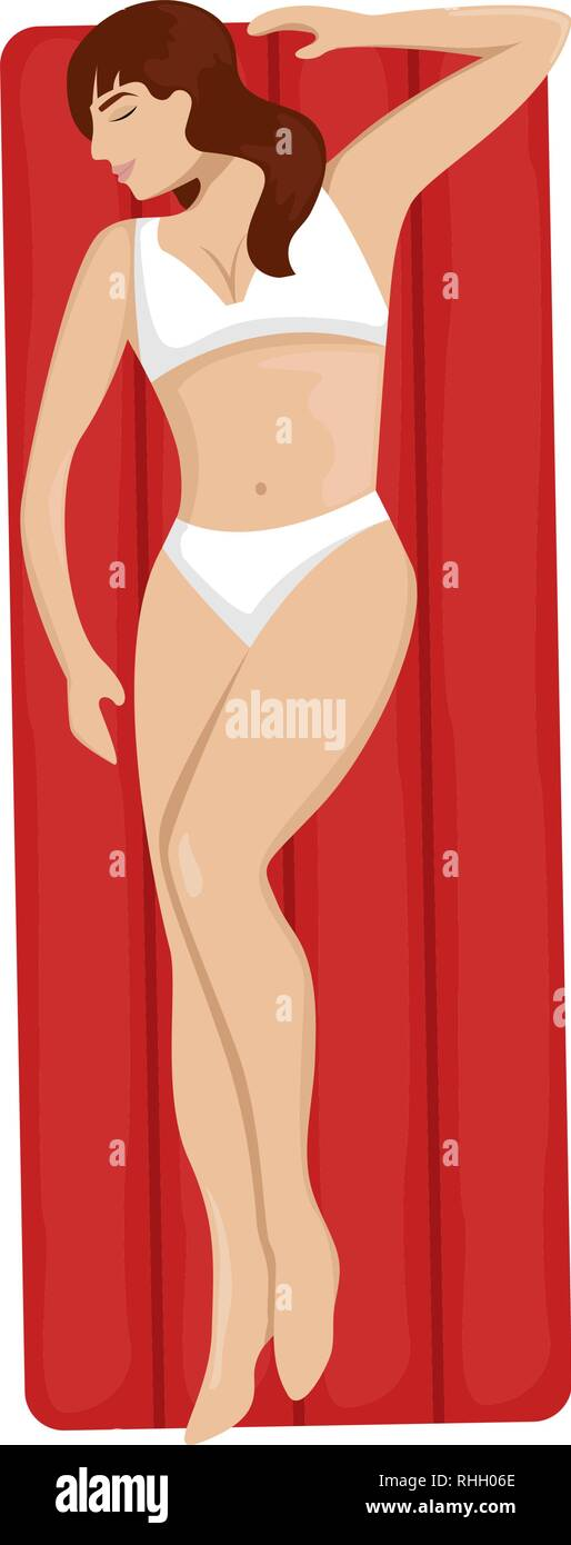Girl in a swimsuit floating on an air mattress in the sea. Flat vector illustration. Top view - Stock Vector
