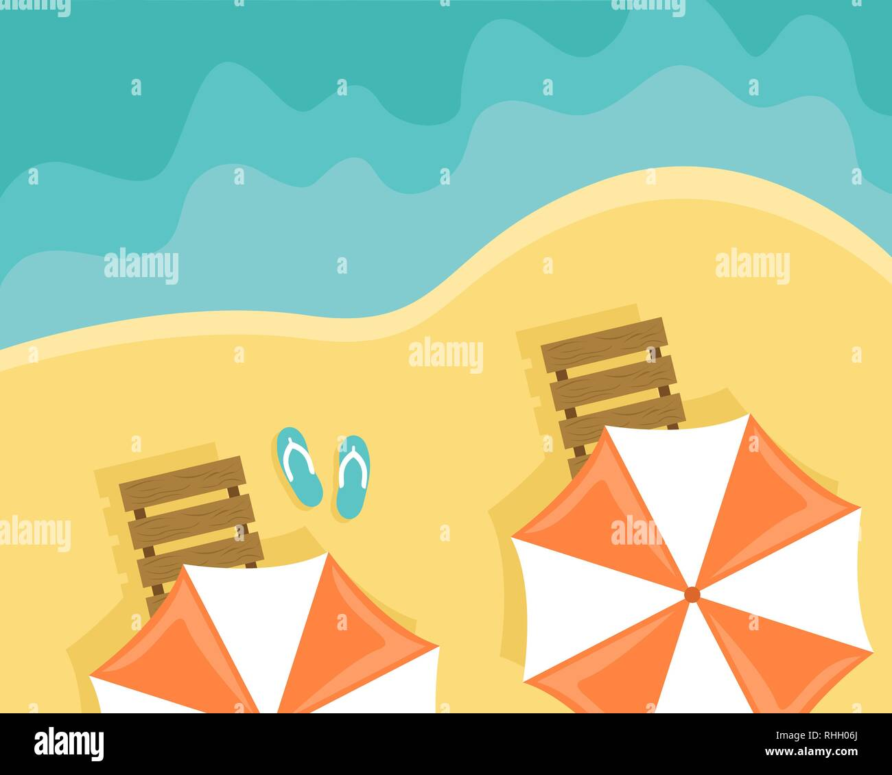 Beach with sun loungers and beach umbrellas. Flat vector illustration. Top view - Stock Vector