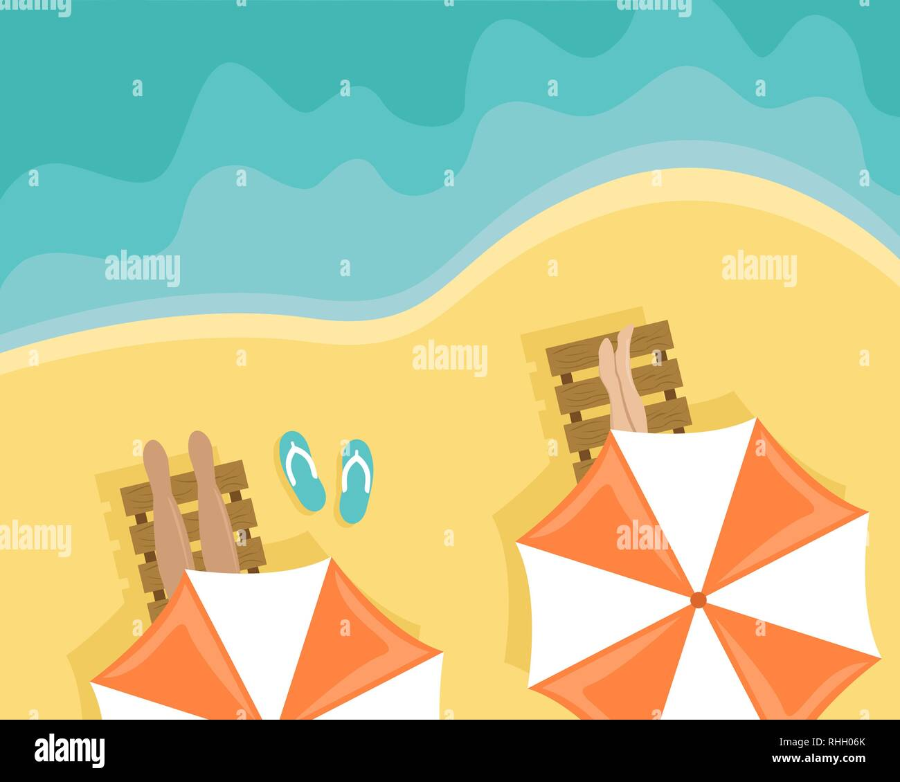 Beach with people lying on sun loungers and beach umbrellas. Flat vector illustration. Top view - Stock Vector