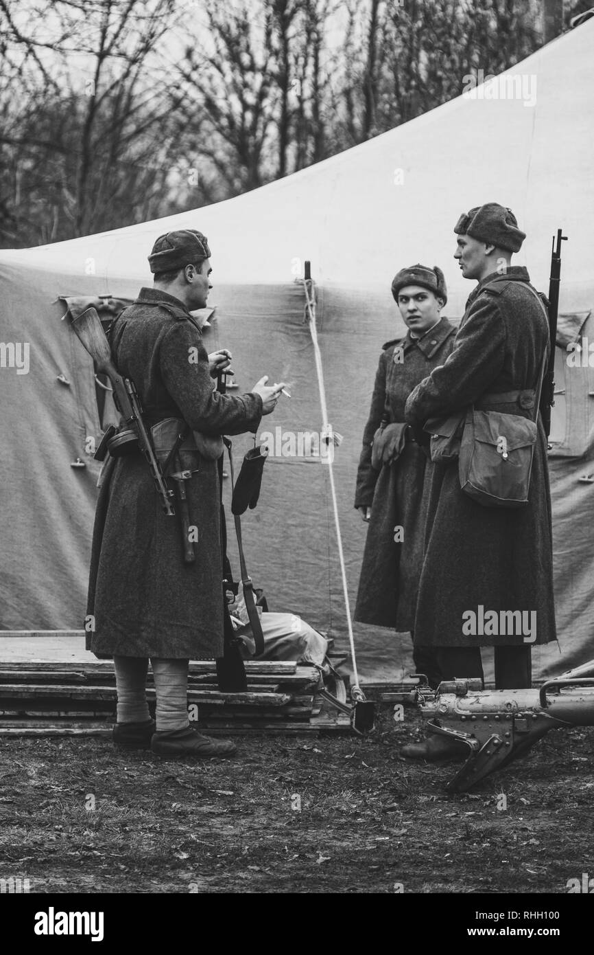 Gomel, Belarus - November 26, 2017: Red Army in a military tent canvas. Reconstructors of the Second World War at the presentation dedicated to the li - Stock Image