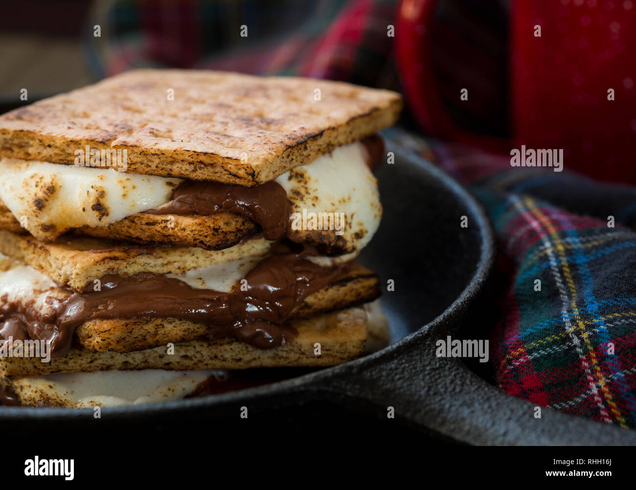 smores in cast iron skillet with plaid blanket and enamelware mug - Stock Image