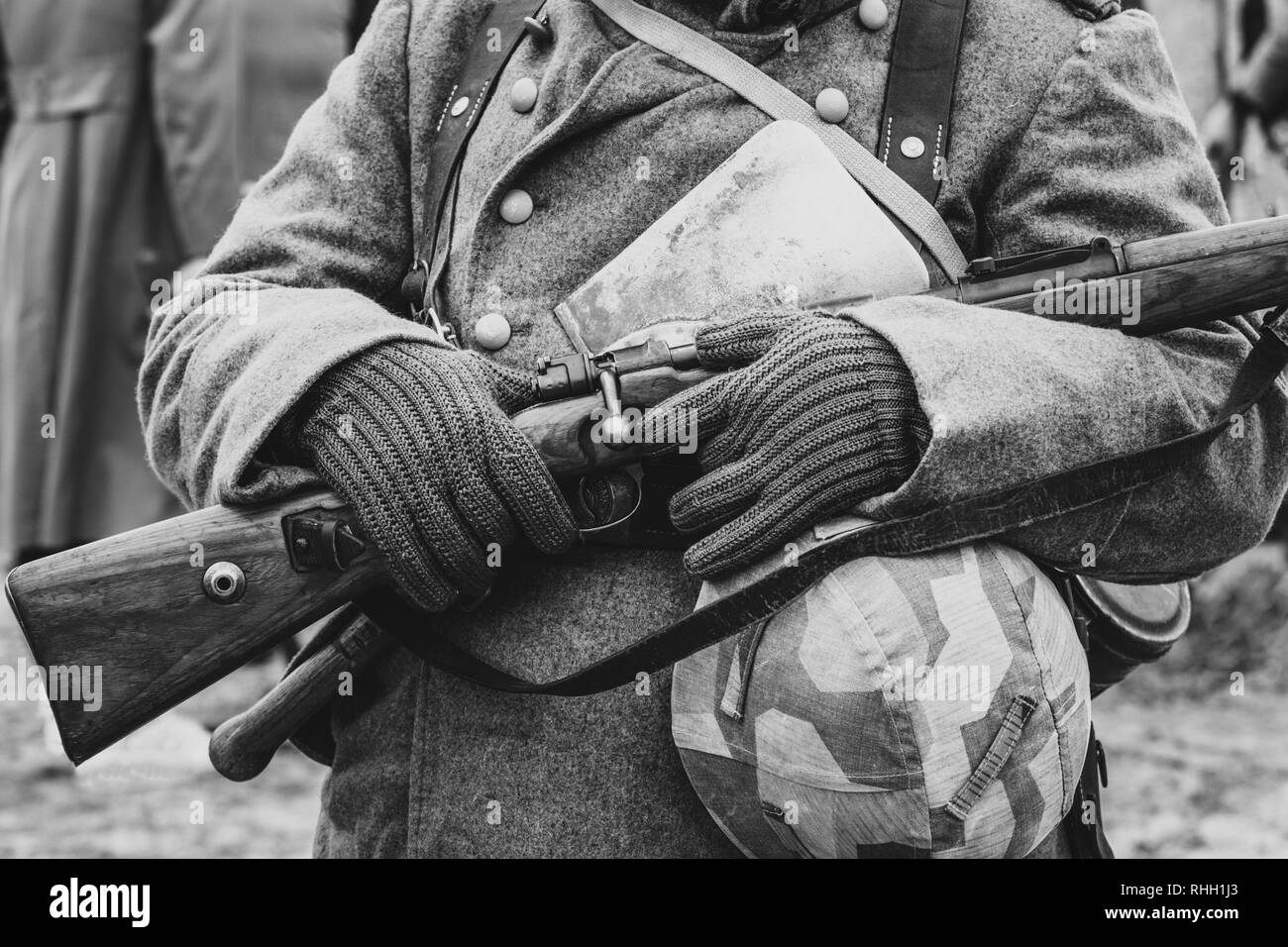 German Wehrmacht soldier with a Mauser rifle in his hands - Stock Image