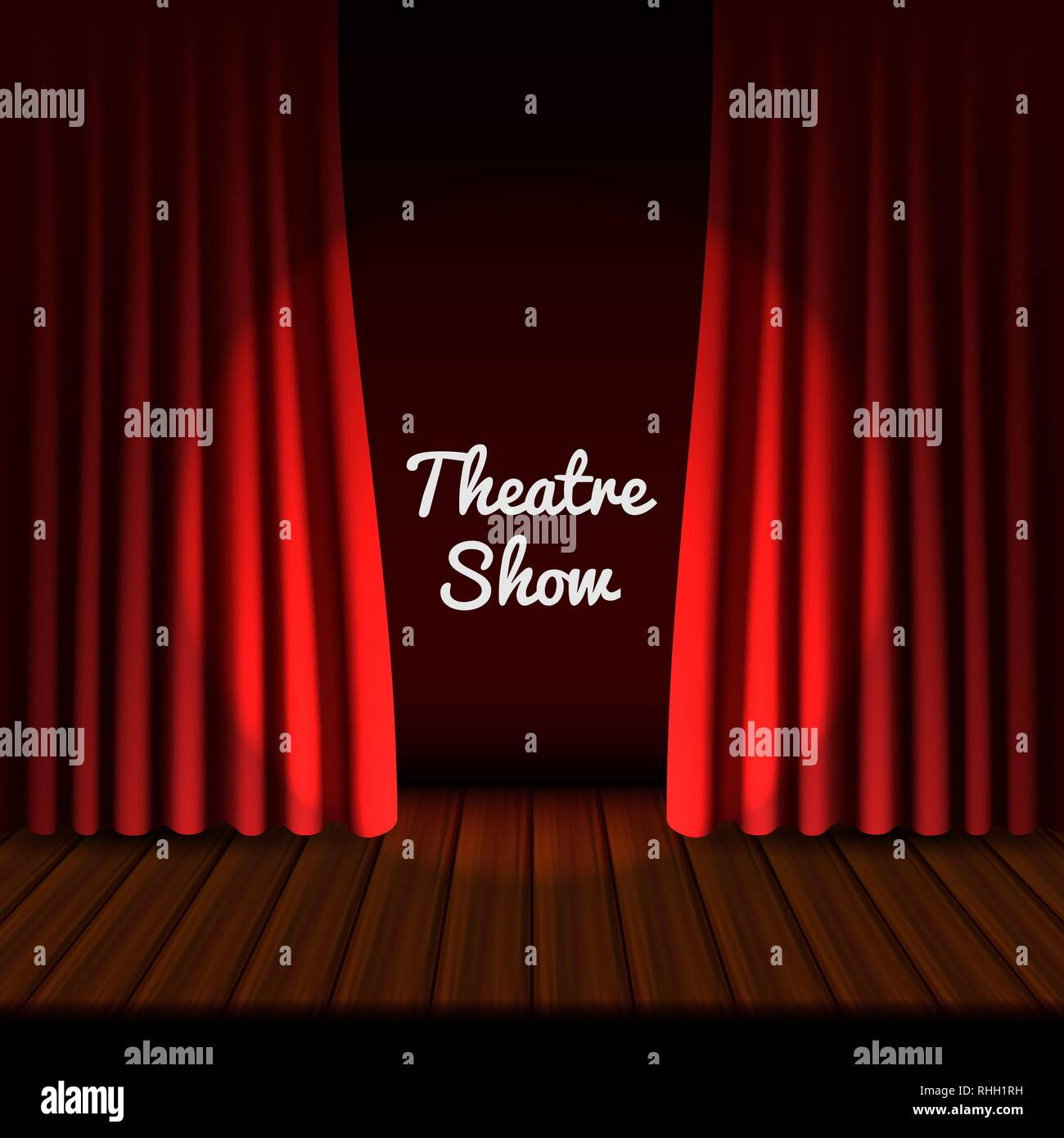 Theatrical stage banner. Realistic illustration of theatrical stage vector banner for web design - Stock Image