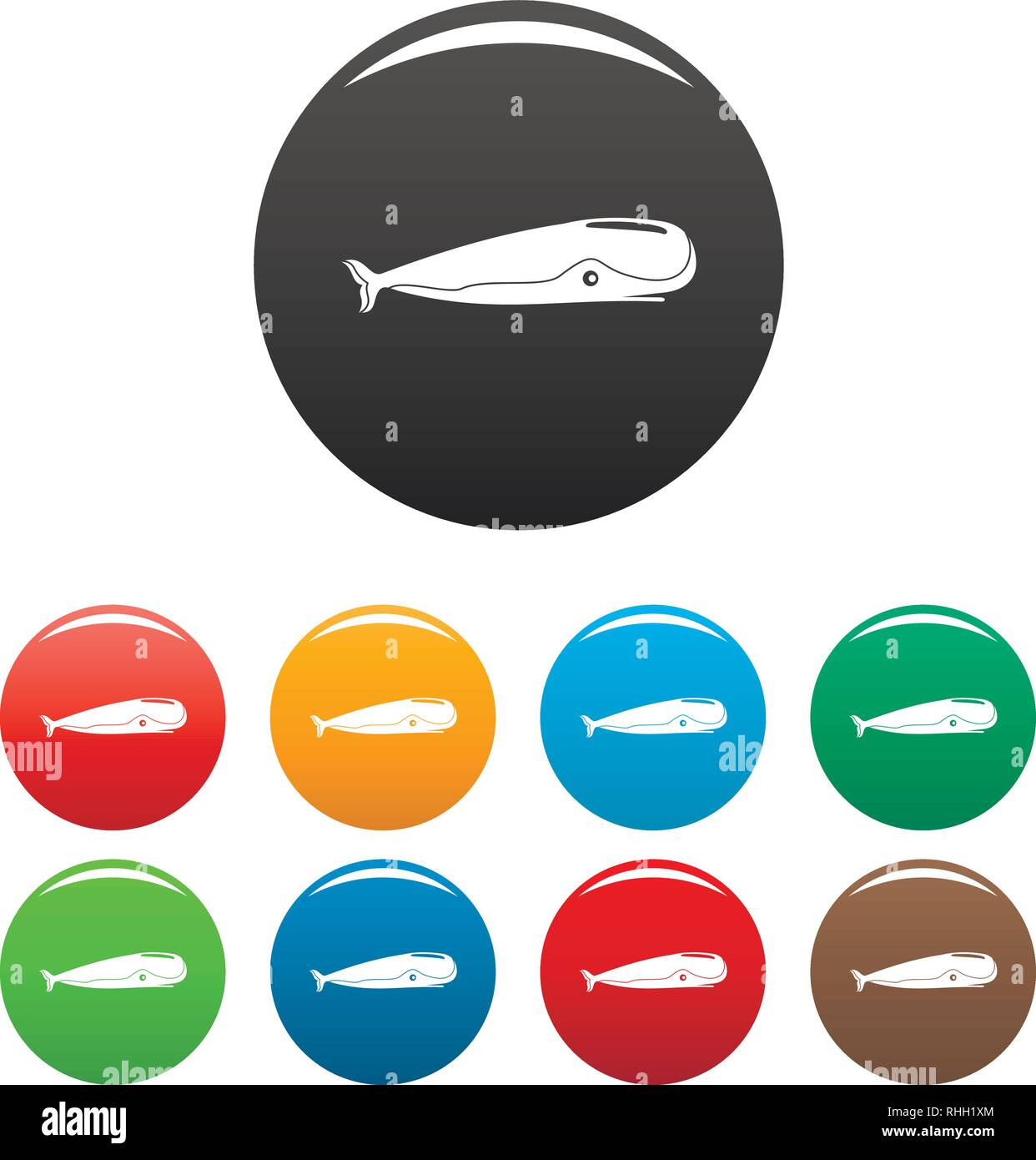 Sperm whale icons set 9 color vector isolated on white for any design - Stock Image