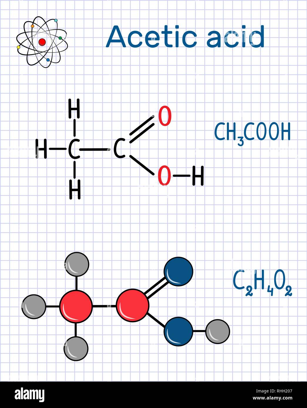 Acetic acid (ethanoic) molecule. Structural chemical formula and molecule model. Sheet of paper in a cage.Vector illustration - Stock Image