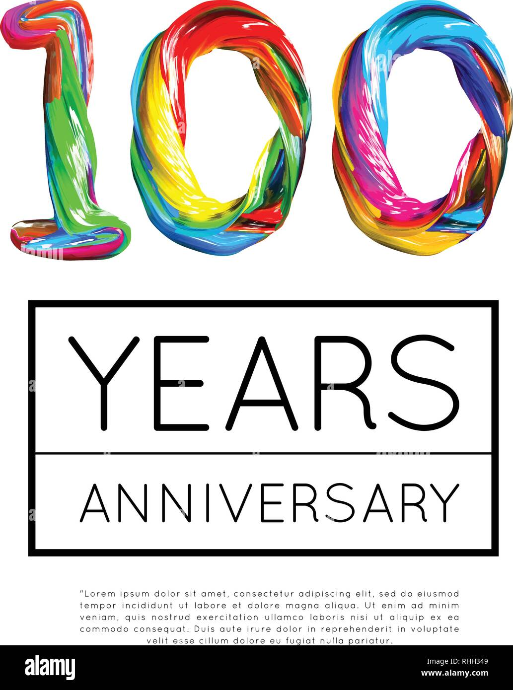 100th Anniversary, congratulation for company or person on white background. Vector - Stock Vector