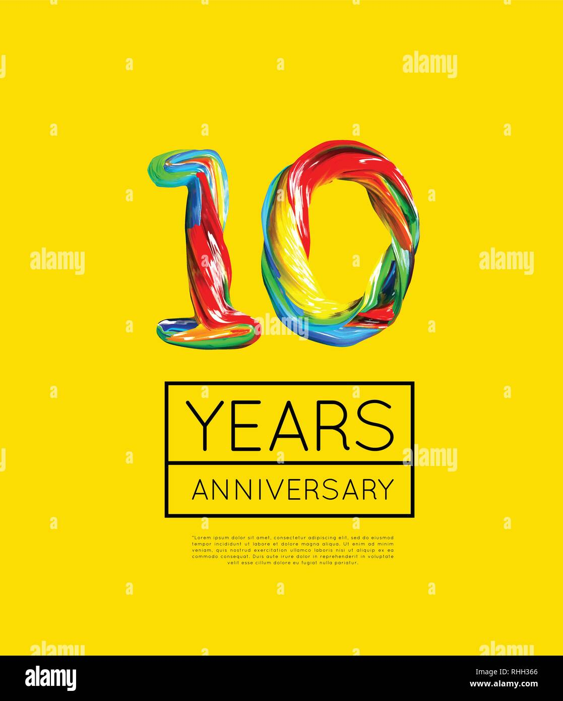 10th Anniversary, congratulation for company or person on yellow background. Vector - Stock Vector