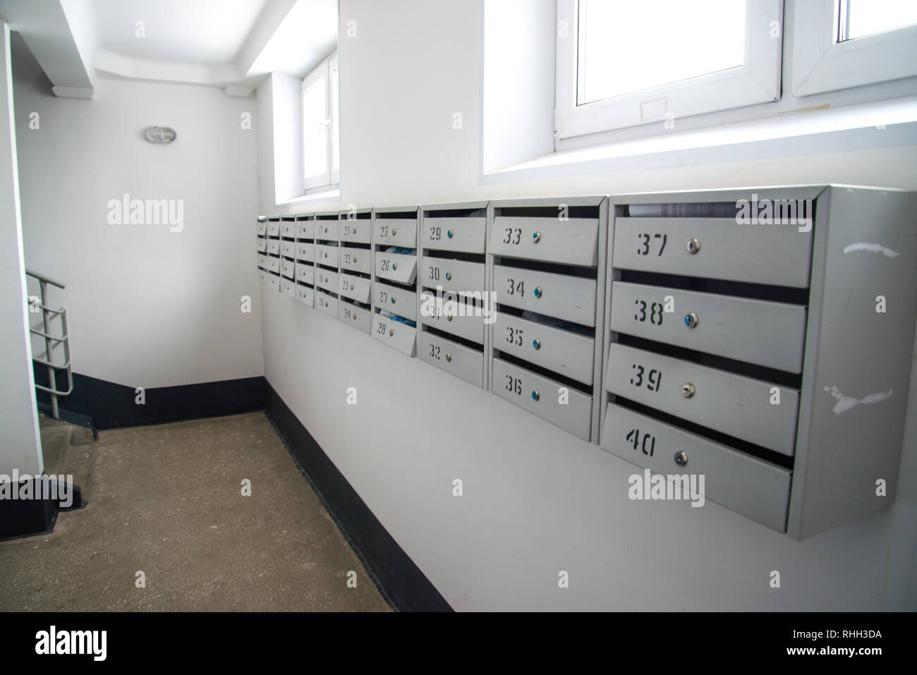 Mailboxes in a residential apartment building Stock Photo ...