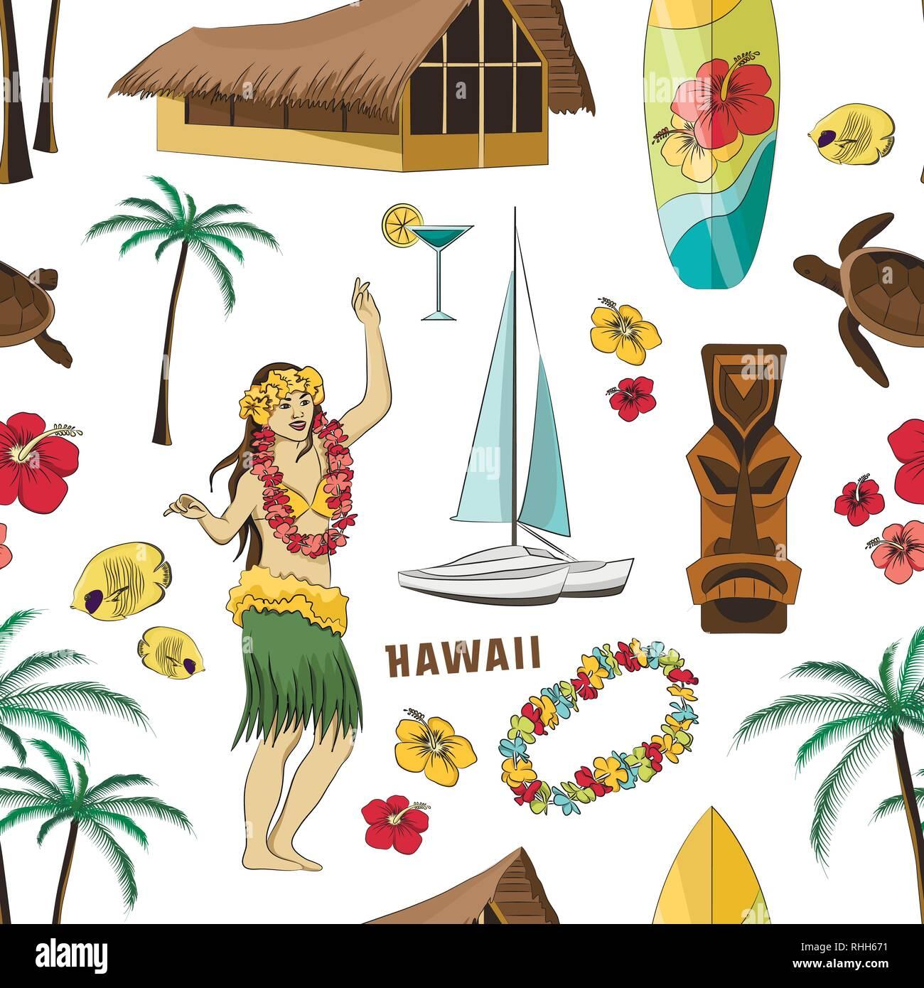 Vector Vintage set pattern of Hawaiian icons and symbols. Vector illustration, EPS 10 - Stock Vector