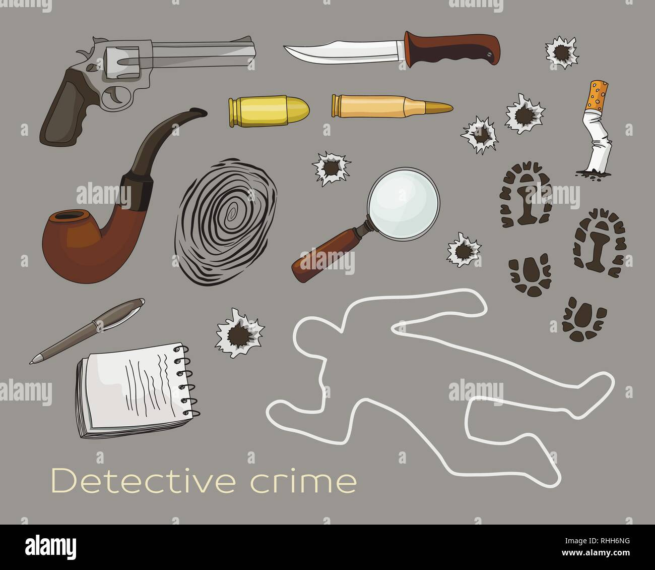 Vector detective crime icons set. Vector illustration, EPS 10 - Stock Image
