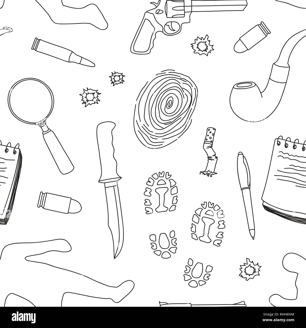 Vector detective crime icons set pattern. Vector illustration, EPS 10 - Stock Image
