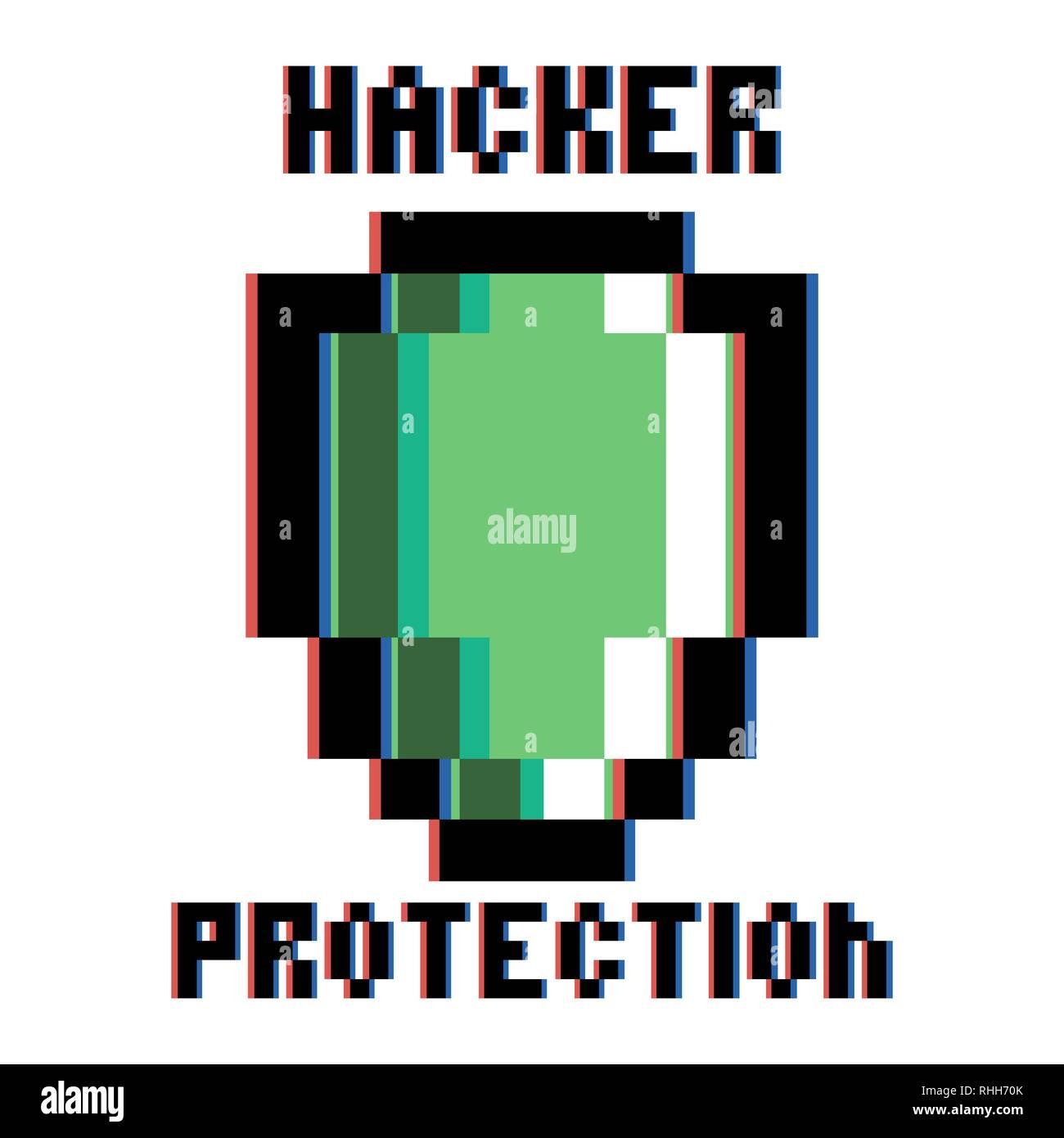 Color vintage hacker protection emblem. Safety design. Security label. Vector illustration, EPS 10 - Stock Image