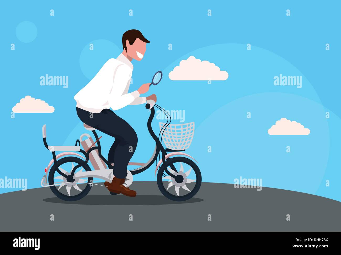 man cycling bicycle holding magnifying glass searching detecting and analyzing concept guy riding bike male cartoon character full length horizontal - Stock Vector