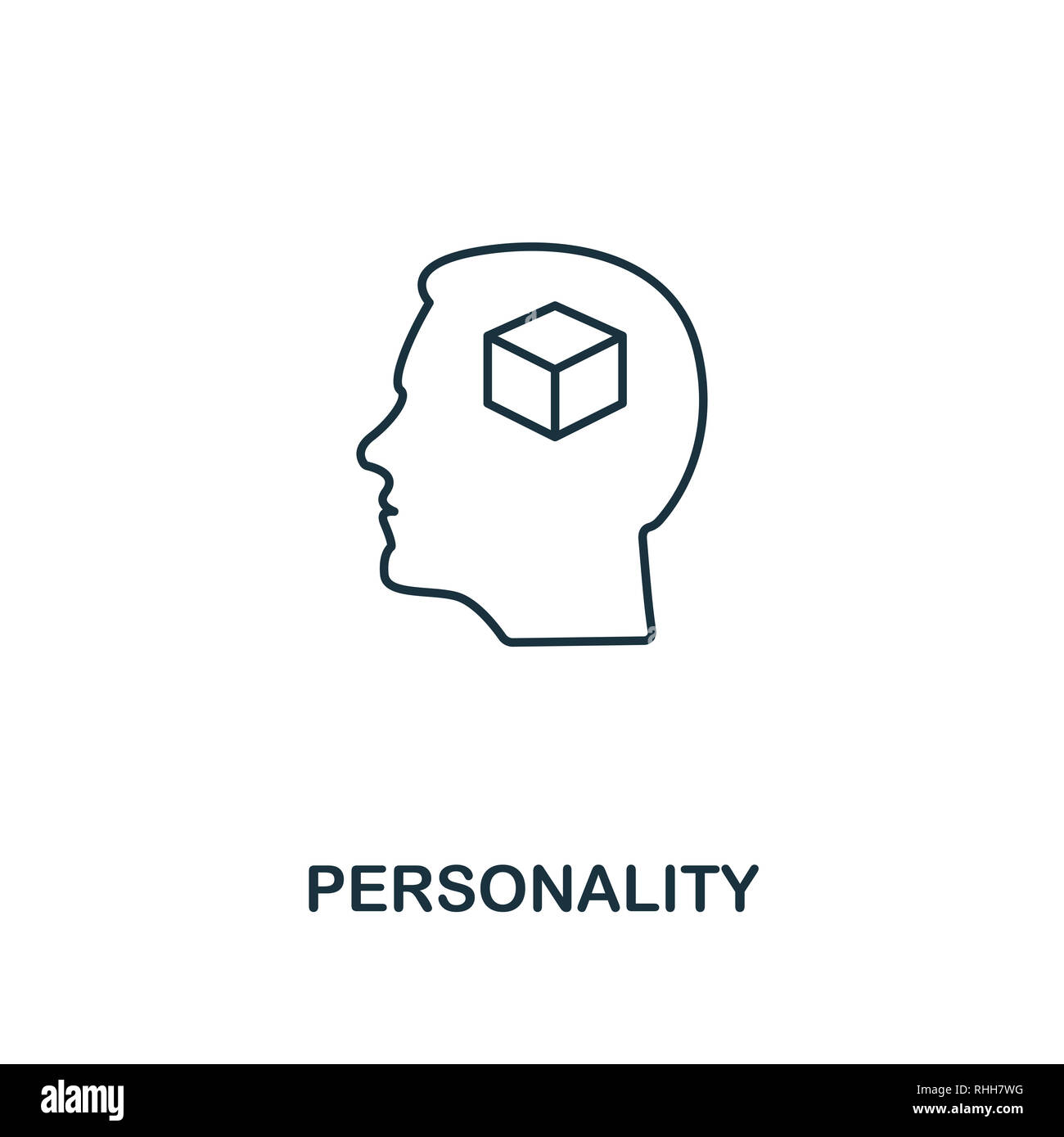 Personality icon. Thin outline creativePersonality design from soft skills collection. Web design, apps, software and print usage. - Stock Image