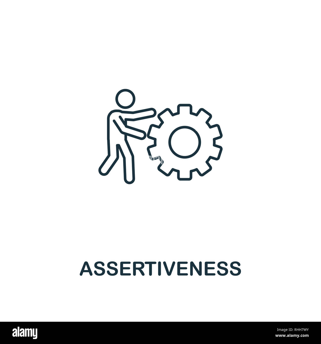 Assertiveness icon. Thin outline creativeAssertiveness design from soft skills collection. Web design, apps, software and print usage. - Stock Image