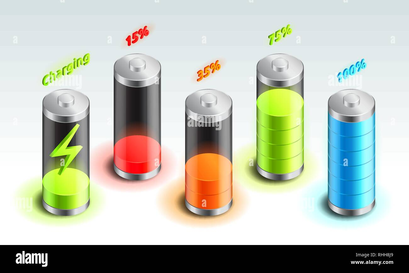 Set of battery charge isometric icon, accumulator indicator, from full charge to discharged, isometric battery vector illustration. - Stock Vector